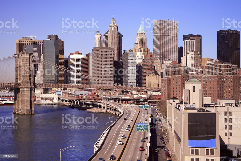 Downtown Manhattan along FDR Drive royalty-free stock photo