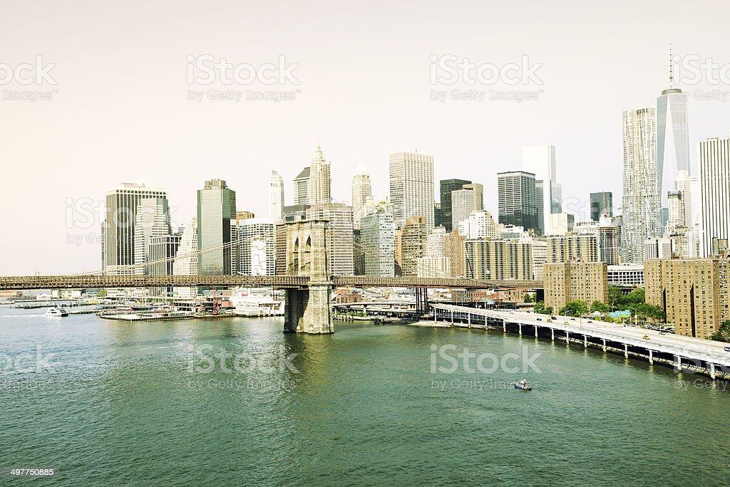 Downtown Manhattan and Brooklyn Bridge stock photo