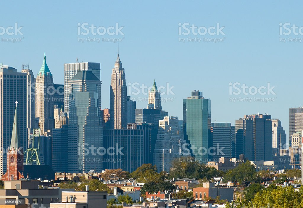 Downtown Manhattan and Brooklyn royalty-free stock photo