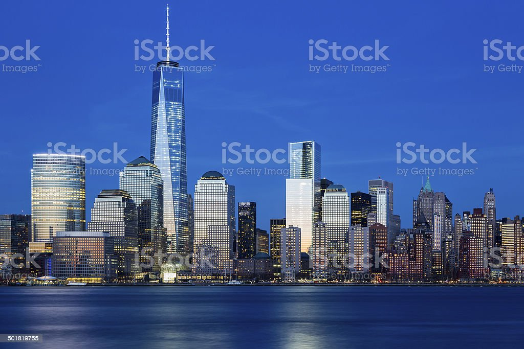 Downtown Manhattan at Twilight, New York stock photo