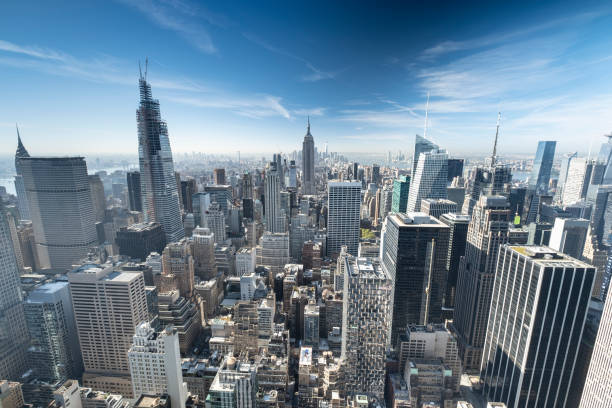 Downtown Manhattan cityscape view in New York City USA stock photo