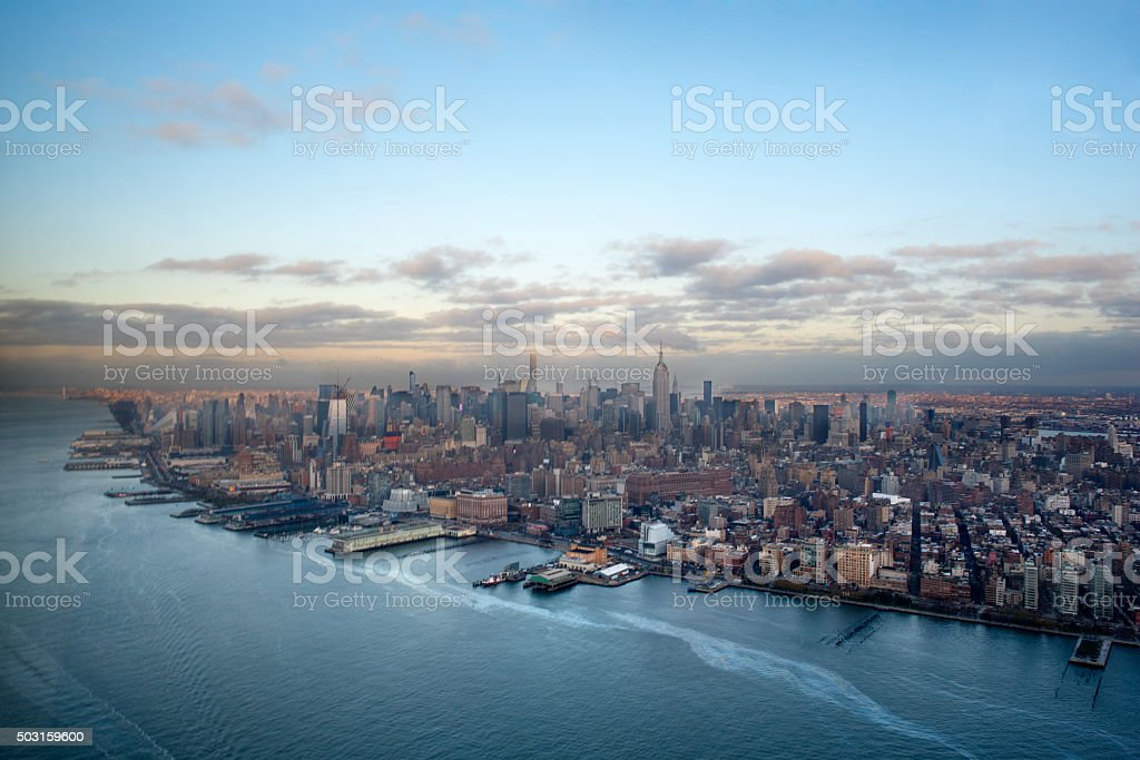 Downtown Manhattan from a helicopter stock photo
