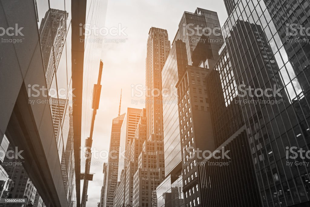 Downtown Manhattan in New York City with breathtaking skyscrapers stock photo