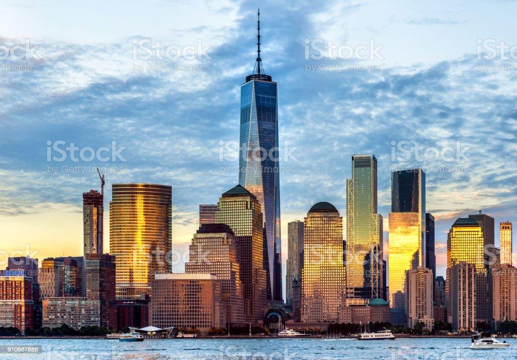 Downtown manhattan new york jersey city golden hour sunset stock photo