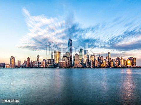 istock Downtown manhattan new york jersey city golden hour sunset 910867946