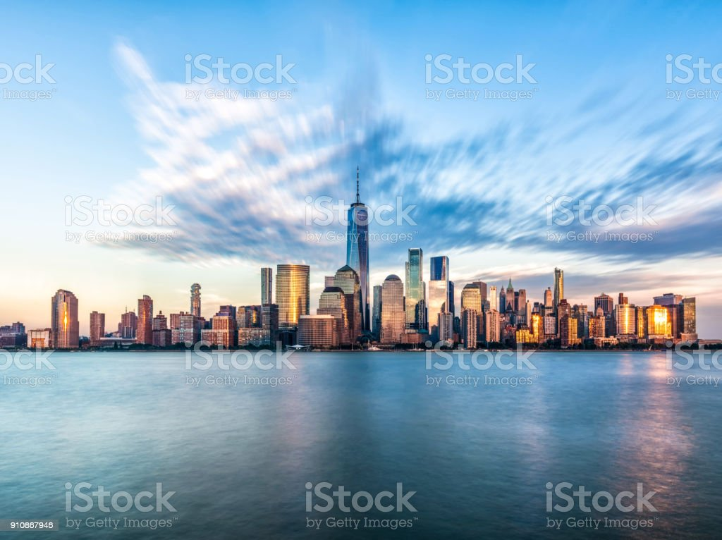 Downtown manhattan new york jersey city golden hour sunset stock photo