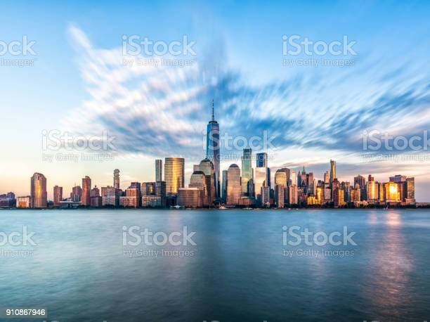 Downtown Manhattan skyline from Jersey City. New York. USA