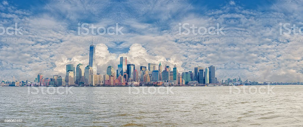 Downtown Manhattan skyline, NYC Landscape Panorama with Cloudy Blue Sky. royalty-free stock photo