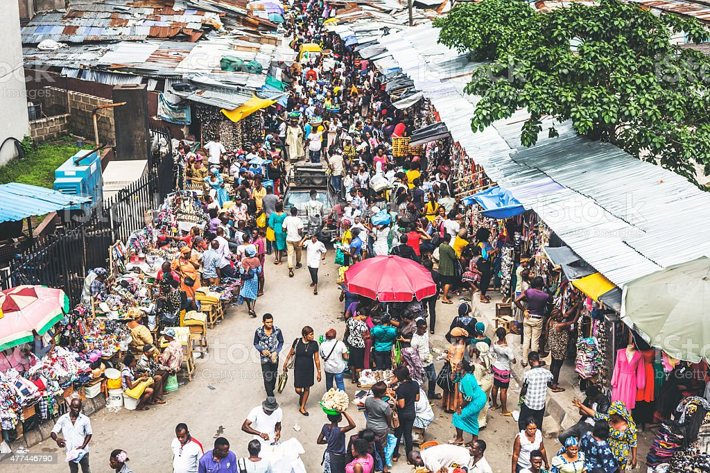 Downtown market streets. Lagos, Nigeria. stock photo