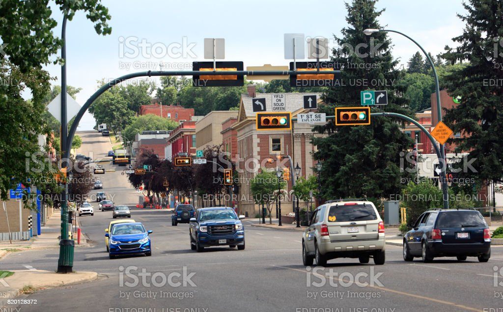 Downtown Medicine Hat With Traffic And Lights stock photo