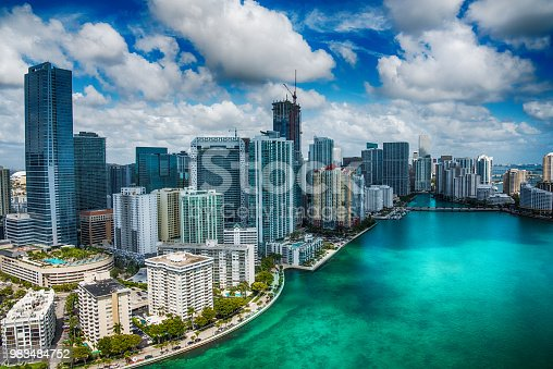 The beautiful skyline of Miami, Florida shot during a helicopter photo flight about 500 feet over the Biscayne Bay.