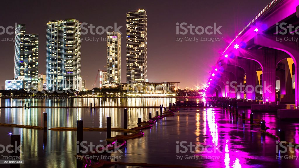 Downtown Miami at Night stock photo