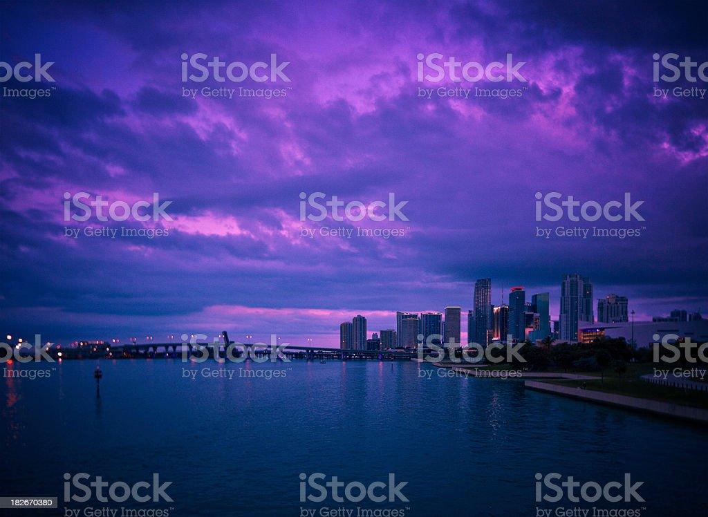 Downtown Miami Bayfront Skyline royalty-free stock photo