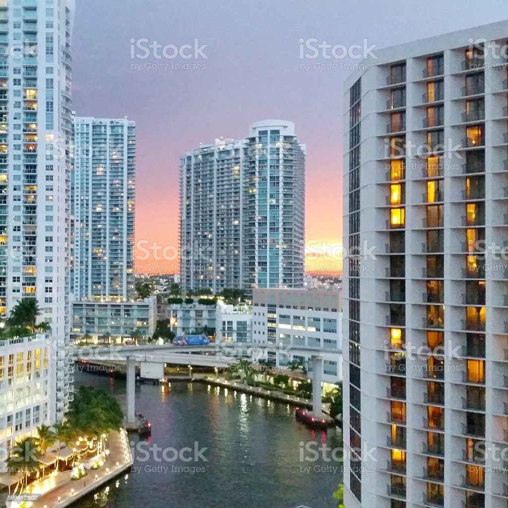Downtown Miami Brickell Scenic sunset View with Urban architecture stock photo