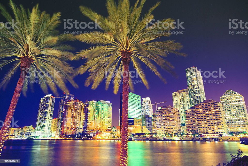 Downtown Miami by night stock photo