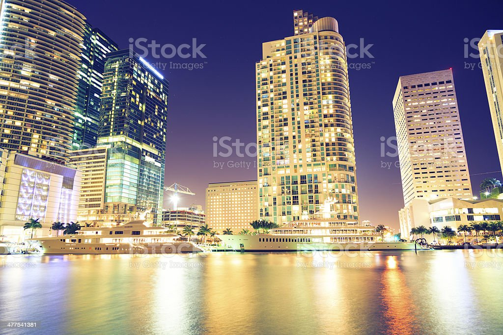 Downtown Miami by night royalty-free stock photo