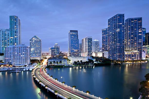 Downtown Miami Illuminated at Dusk stock photo