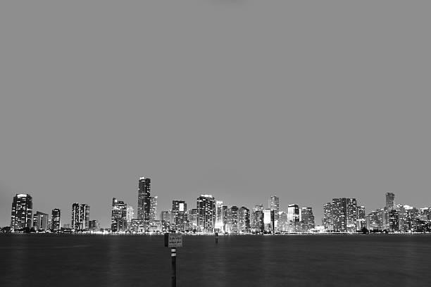 Downtown Miami in Black and White stock photo