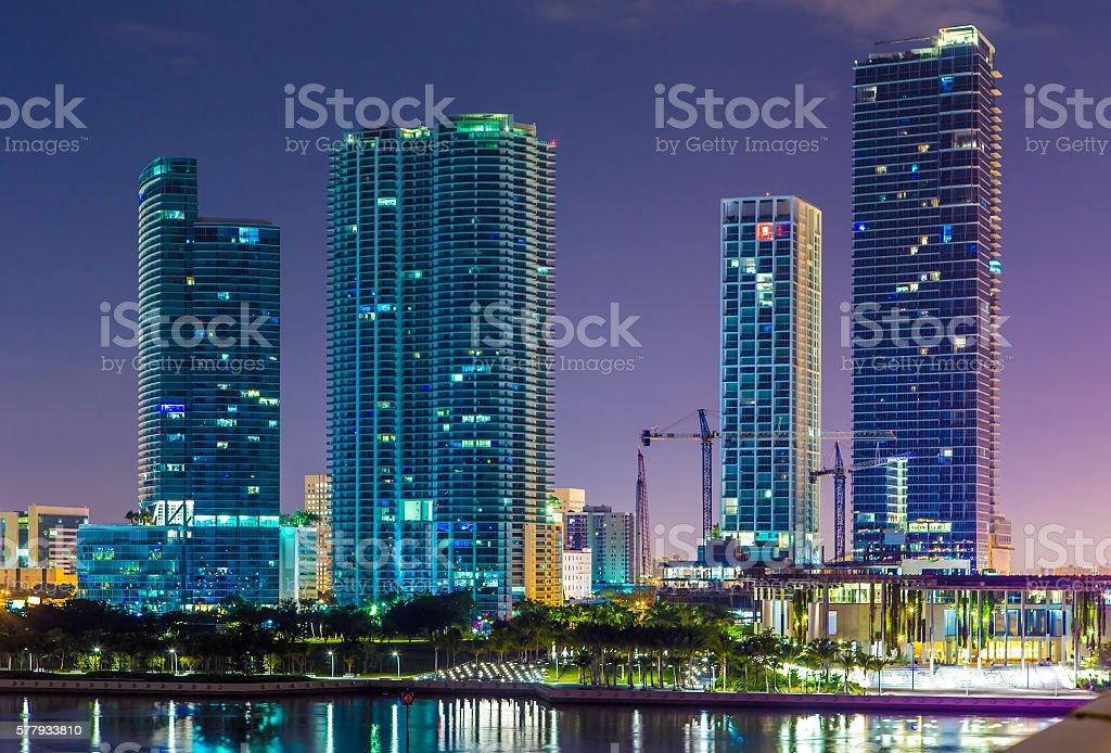 Downtown Miami, Night cityscape stock photo