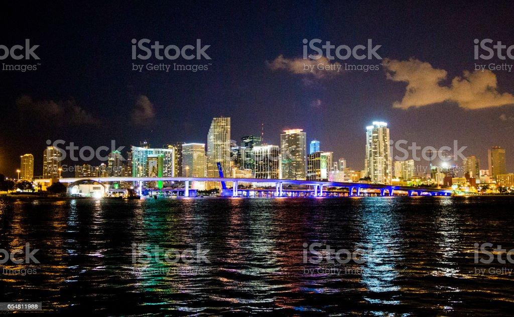 Downtown Miami night sky stock photo