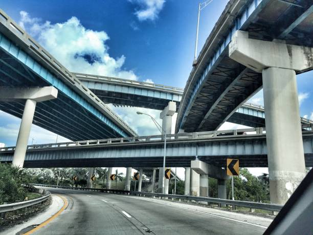 Downtown Miami Travelling by car through downtown Miami elevated road stock pictures, royalty-free photos & images