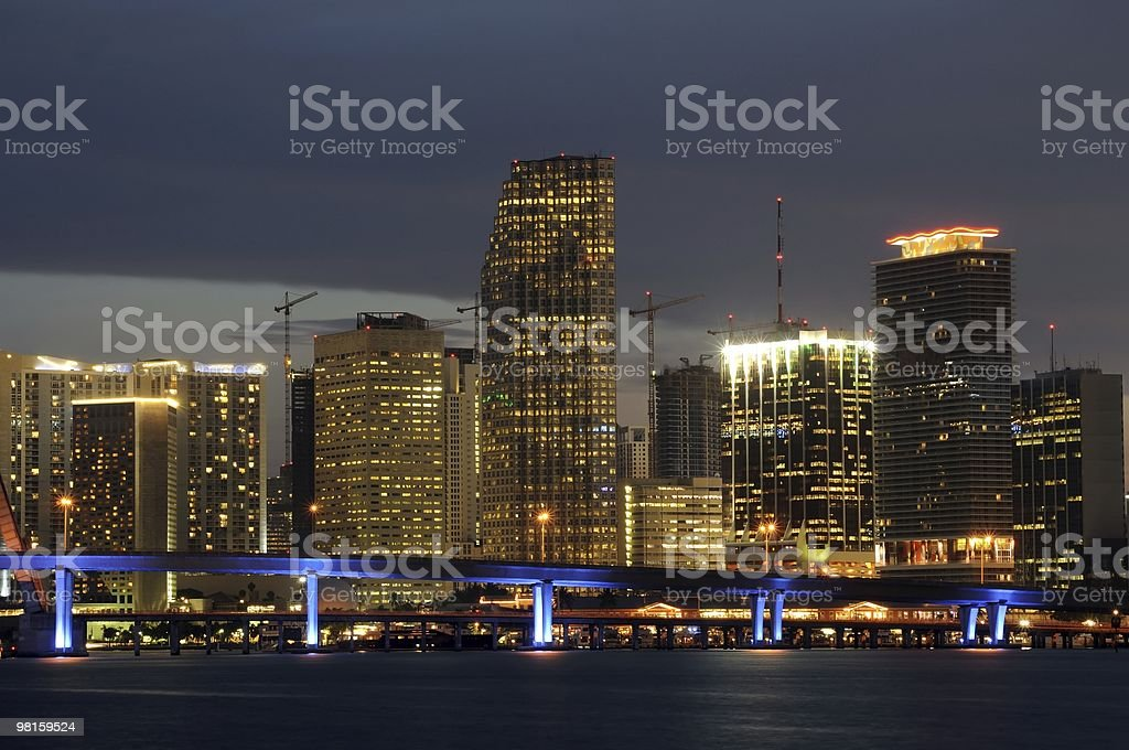 Downtown Miami Skyline at Night royalty-free stock photo