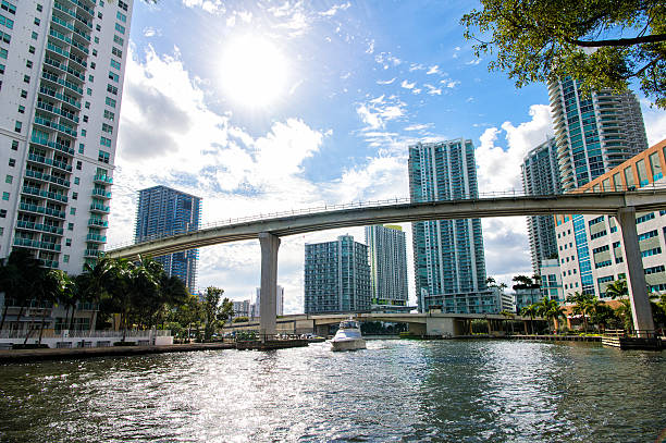 Downtown Miami  with Brickell Key in the background stock photo