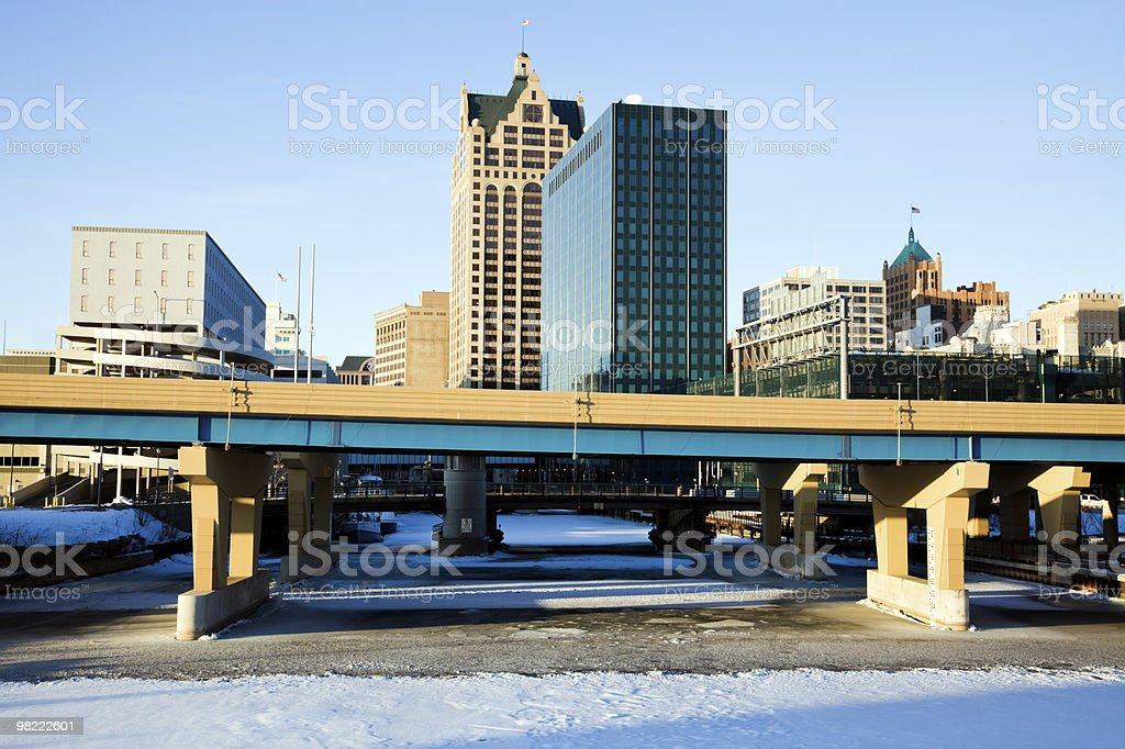Downtown Milwaukee above frozen river royalty-free stock photo