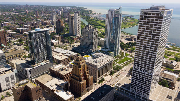 Downtown Milwaukee Aerial skyline view of Downtown Milwaukee. milwaukee wisconsin stock pictures, royalty-free photos & images
