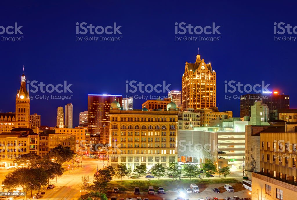 downtown milwaukee wisconsin skyline stock photo more pictures of