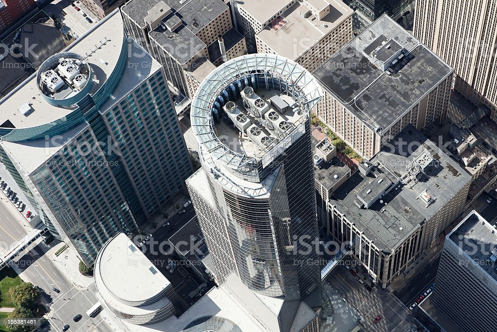 Downtown Minneapolis Aerial featuring the Capella Tower stock photo