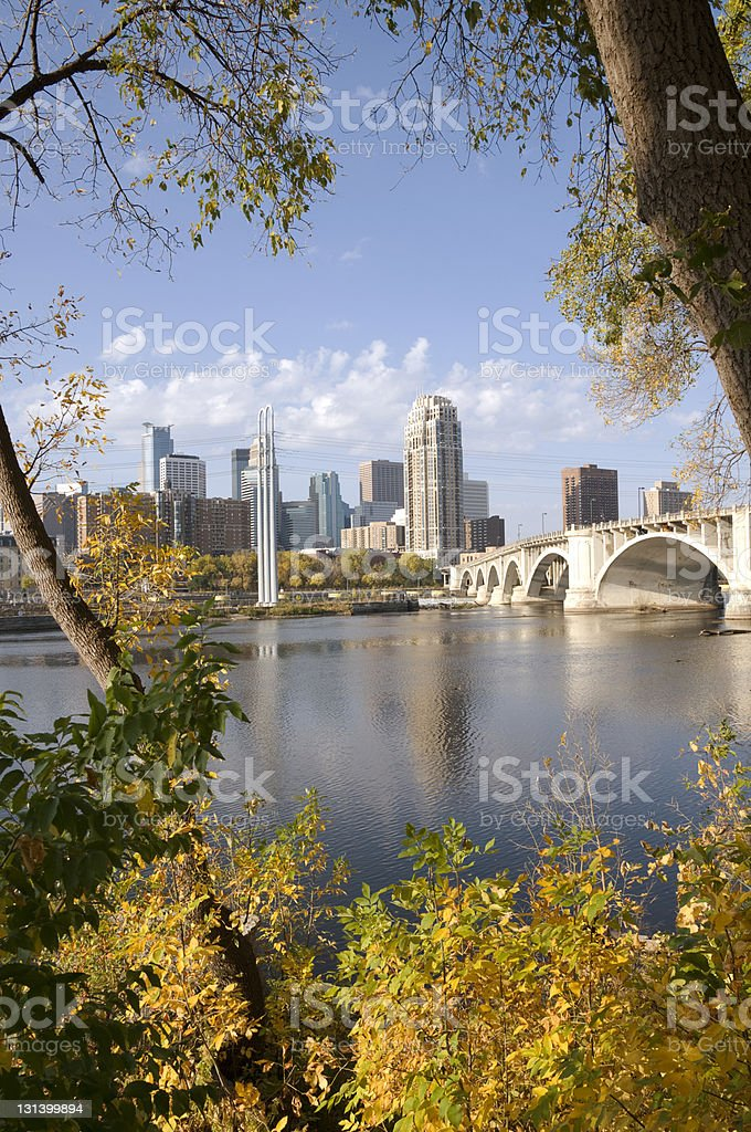 downtown Minneapolis from across the river stock photo