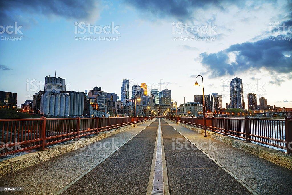 Downtown Minneapolis, Minnesota at night time stock photo