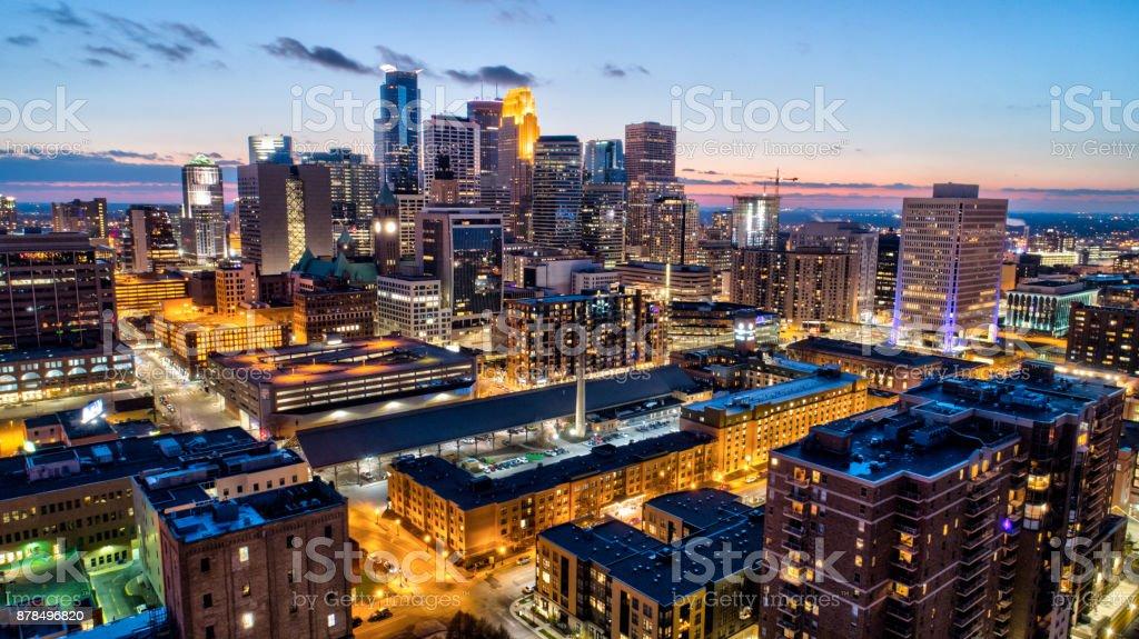 Downtown Minneapolis Skyline - Sunset Downtown Minneapolis Skyline - Sunset Aerial View Stock Photo