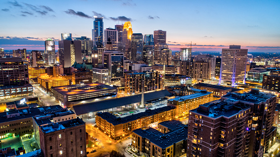 Downtown Minneapolis Skyline Sunset Stock Photo - Download Image Now