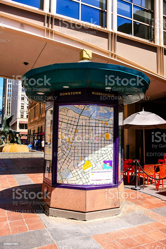 Downtown Minneapolis Visitor Information And Map Kiosk Stock Photo on