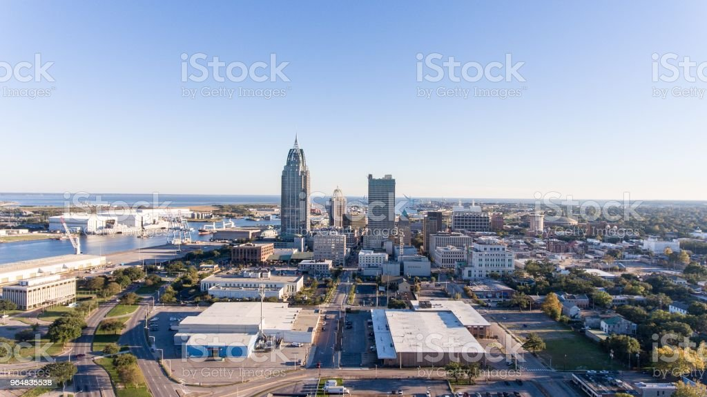 Downtown Mobile, Alabama riverside royalty-free stock photo
