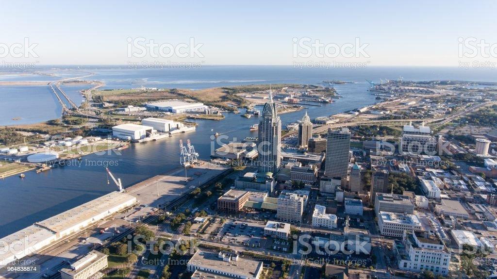 Downtown Mobile, Alabama riverside royalty-free stock photo