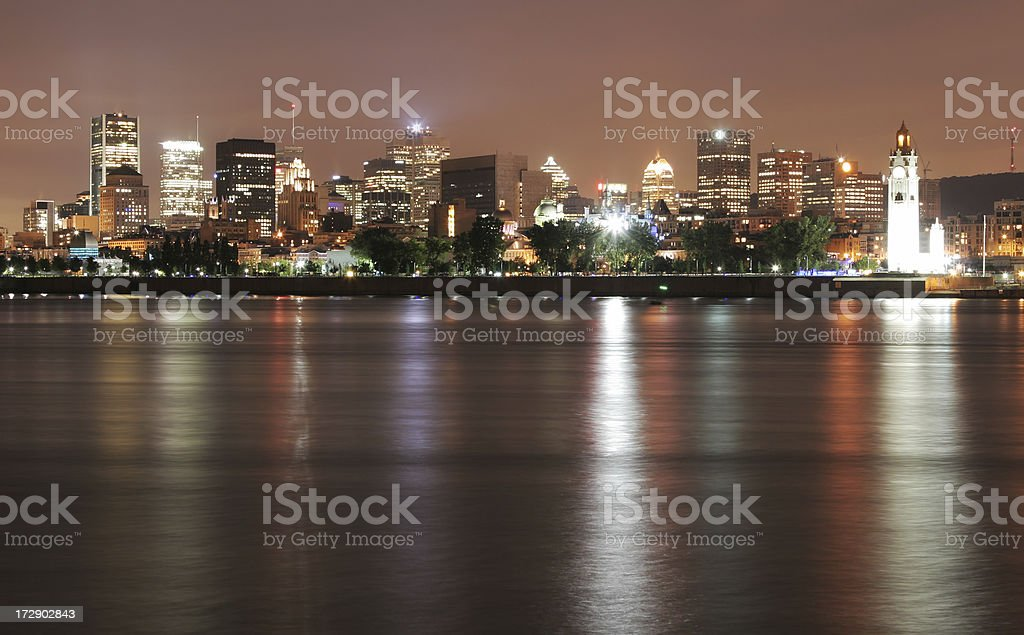Downtown Montreal City at Night royalty-free stock photo