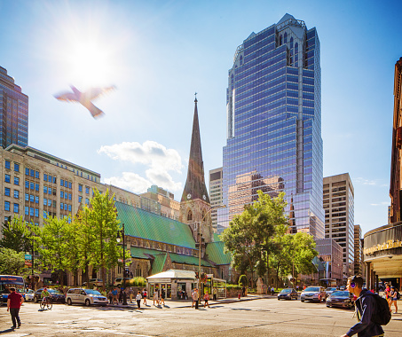 istock Downtown Montreal city scene on a sunny Summer afternoon. 594030110
