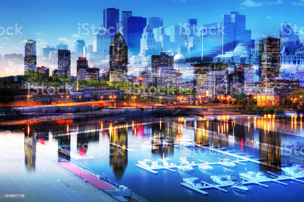 Downtown Montreal Cityscape Photo Montage stock photo