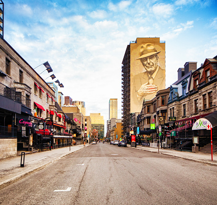 Downtown Montreal Crescent street with Leonard Cohen Murale