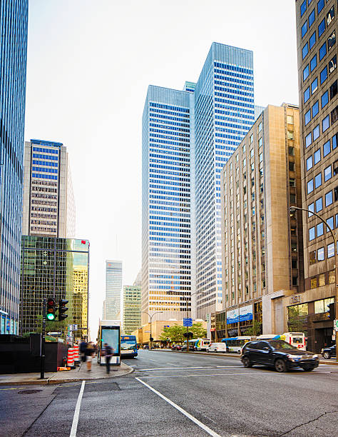 Downtown Montreal financial district on a sunny Summer afternoon stock photo