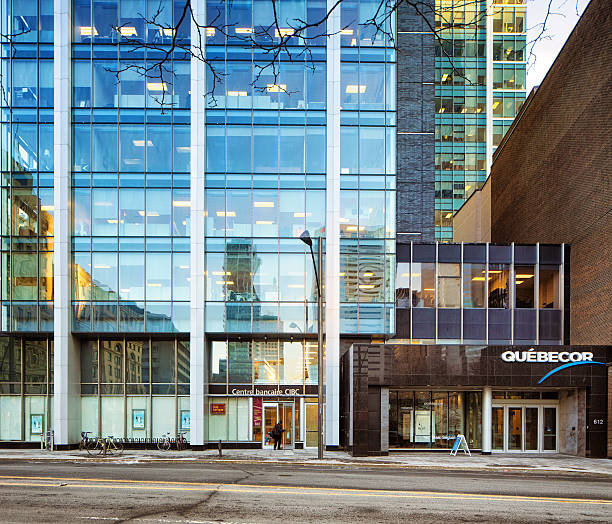 Downtown Montreal Quebecor office tower entrance stock photo