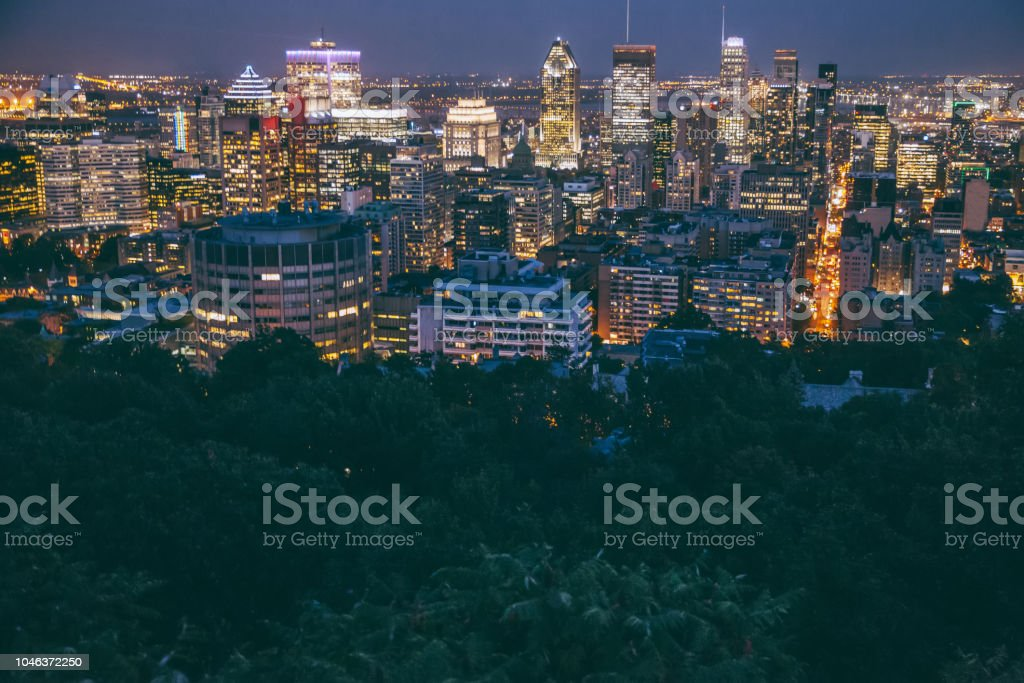 Downtown Montreal Skyline at night stock photo