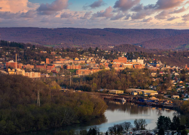 Downtown Morgantown in West Virginia home of the university stock photo
