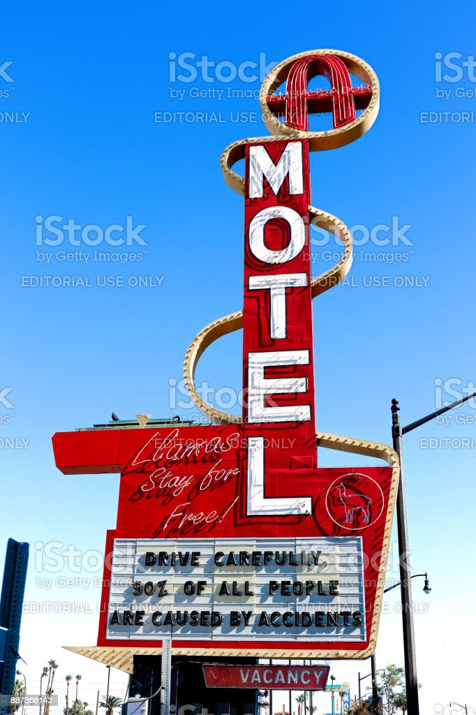 Downtown Motel historical sign in Fremont Street Entertainment District. stock photo