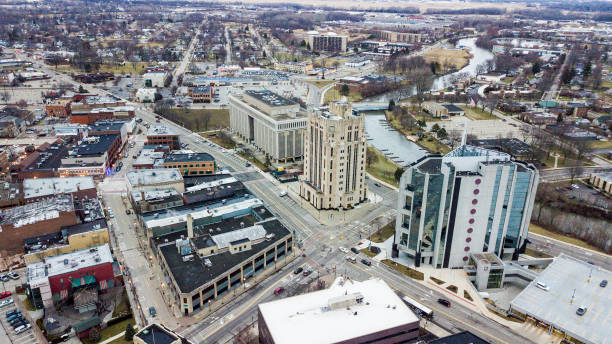 Downtown Mount Clemens Michigan Cityscape stock photo