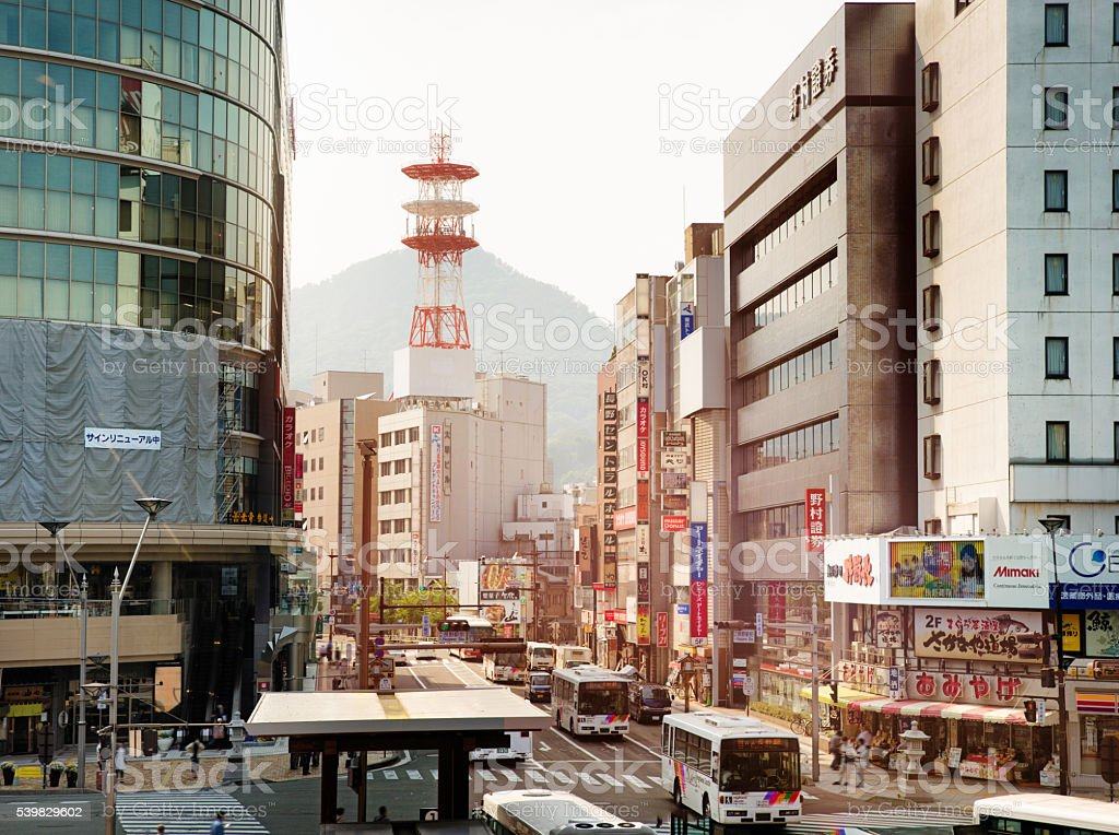 Downtown Nagano shopping street at sunset stock photo