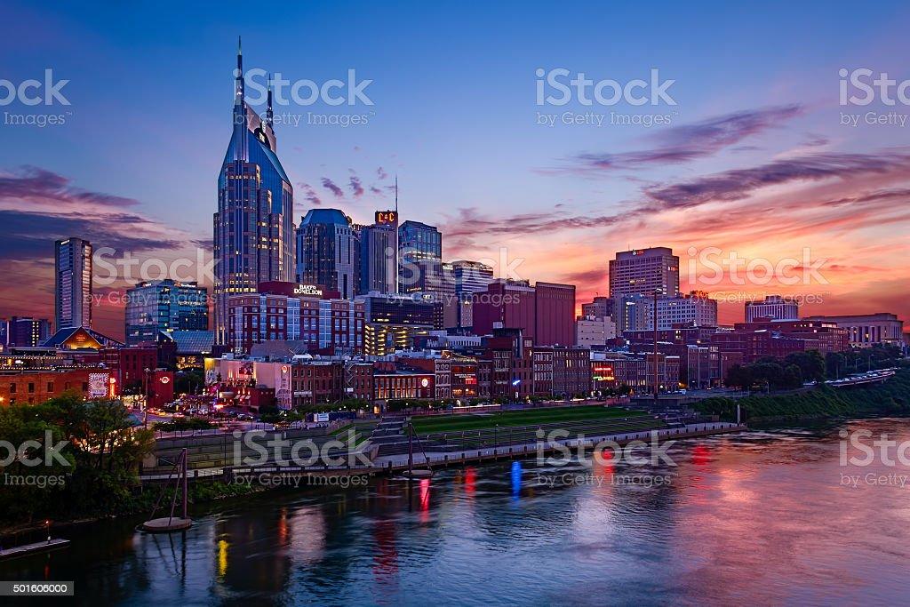 Downtown Nashville at Dusk stock photo